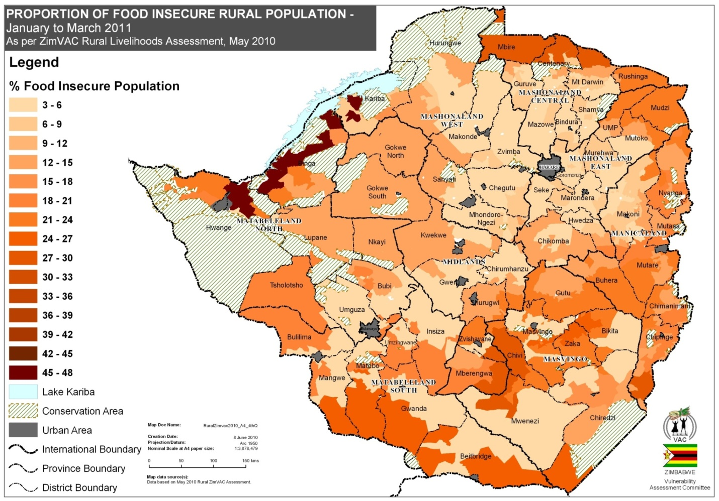 Population Density Map Zimbabwe.Fao Wfp Crop And Food Security Assessment Mission To
