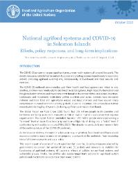 National Agrifood Systems And Covid 19 In Solomon Islands