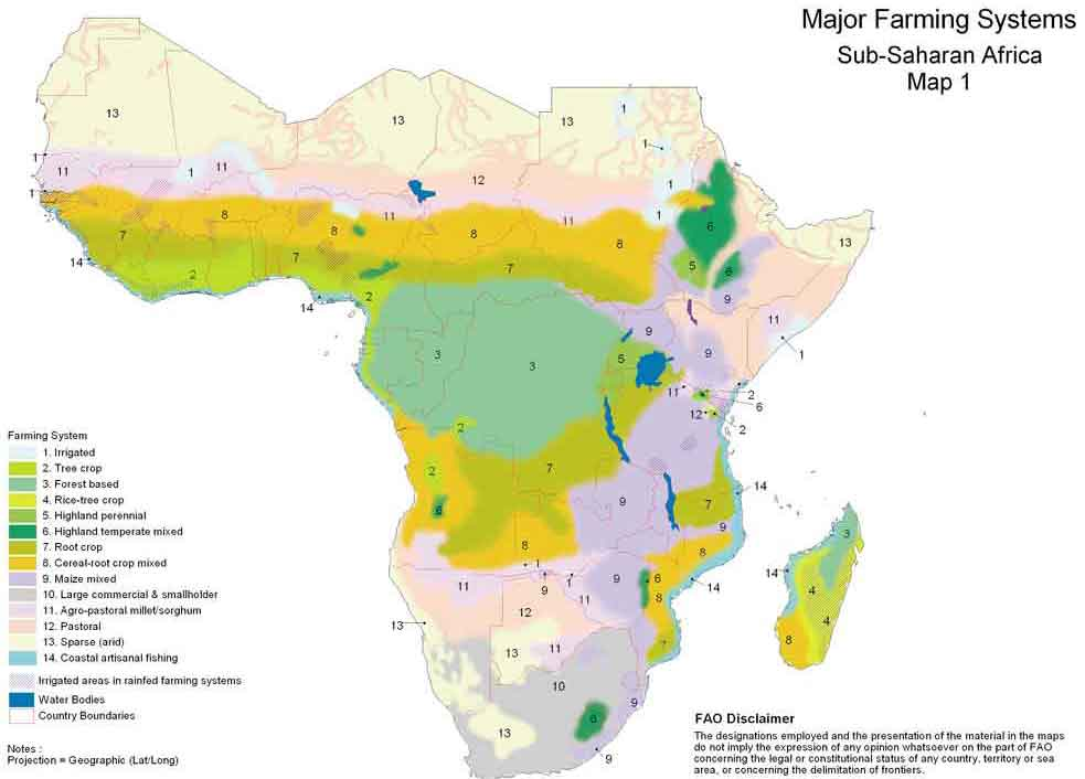 Sub Saharan Africa Climate Map.Farming Systems And Poverty