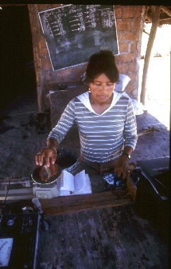 Capacity development efforts must involve participation at all levels in order to be successful. This woman is monitoring shrimp as part of a technical and managerial training programme in Mexico
