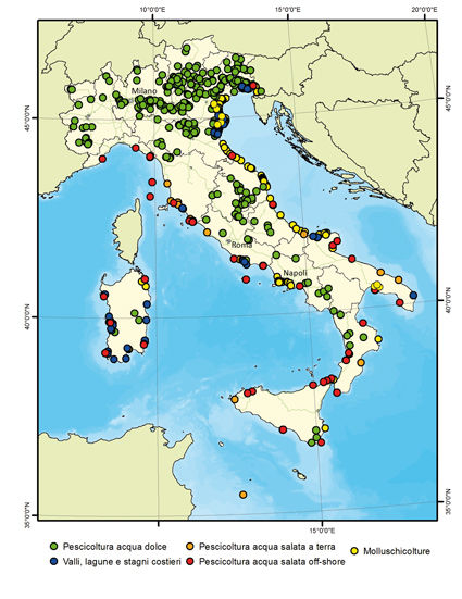 Figure 13 – Italy - Geographic distribution of aquaculture fish farms in Italy