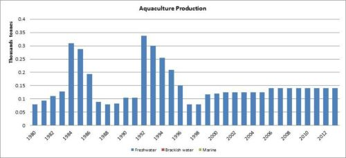 Figure 6 — République centrafricaine - Production de l'aquaculture/Aquaculture production