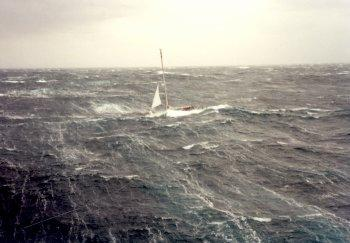 Vessel caught in a storm at sea