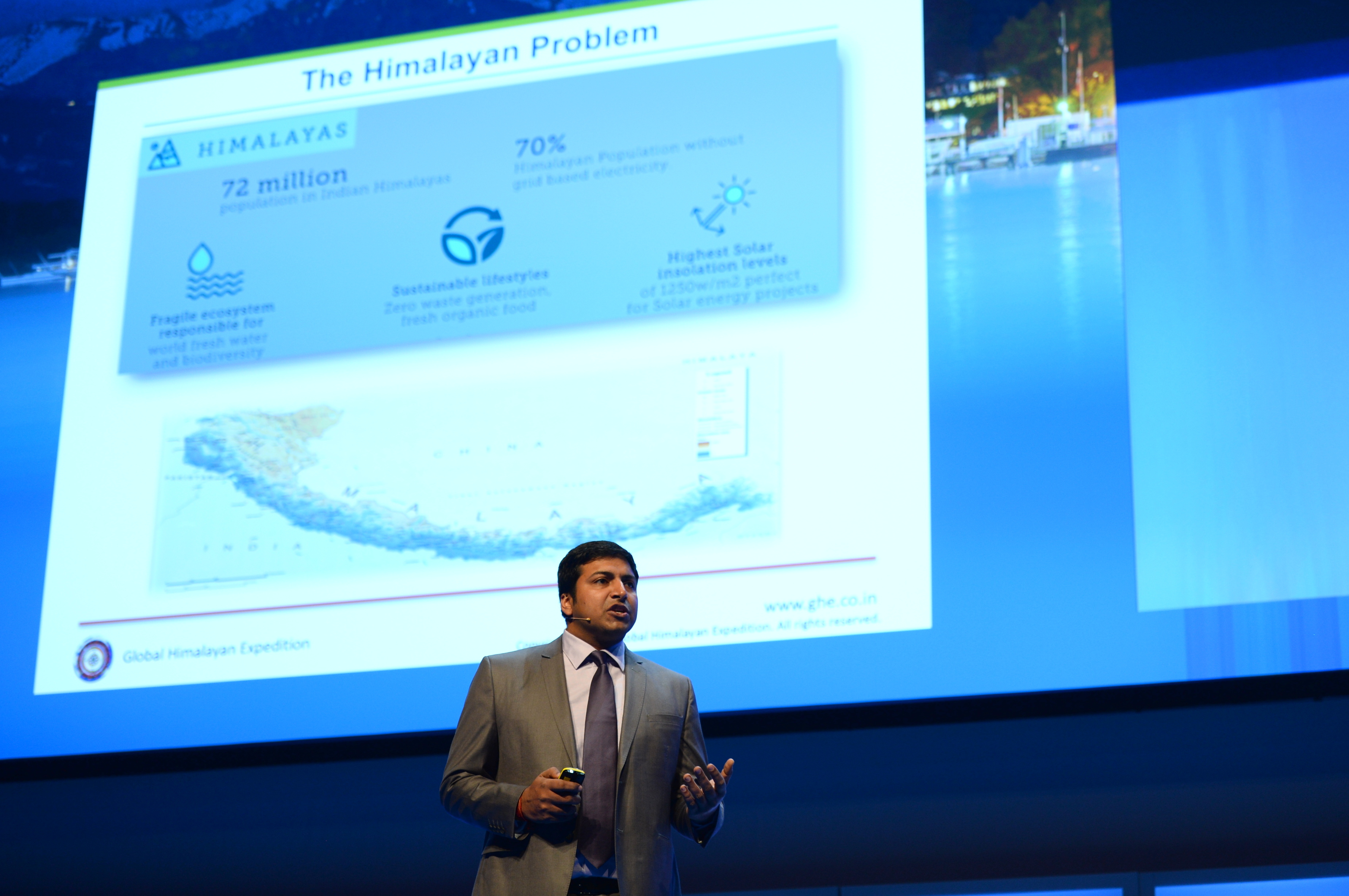 Paras Loomba, founder of Global Himalayan Expedition, presents at the World Tourism Forum Lucerne