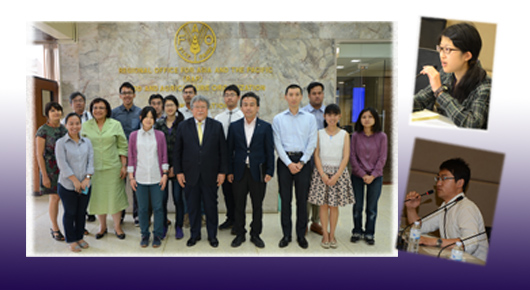 Tsukuba University students and next generation of Asia's agricultural scientists visit FAO Regional Office for Asia and the Pacific--FAO Assistant Director-General and Regional Representative, Hiroyuki Konuma, hosts faculty and students from the Agro-Biological Resource Sciences and Technology, Graduate School of Life and Environmental Sciences, University of Tsukuba, Japan. Staff and faculty from Thailand's Kasetsart University, Central Mindanao University (Philippines) and Universiti Putra Malaysia also participated in the event. Dr Konuma explained the challenges the region faces in eradicating hunger, the widening income disparity and inequality in the region, and the need for more equitable distribution and social protection for vulnerable populations that are not benefiting from the region's economic growth. The group also discussed the region's food requirements over the next generation and the future prospects of meeting those demands given the increasing scarcity of natural resources.  (3 March 2015)