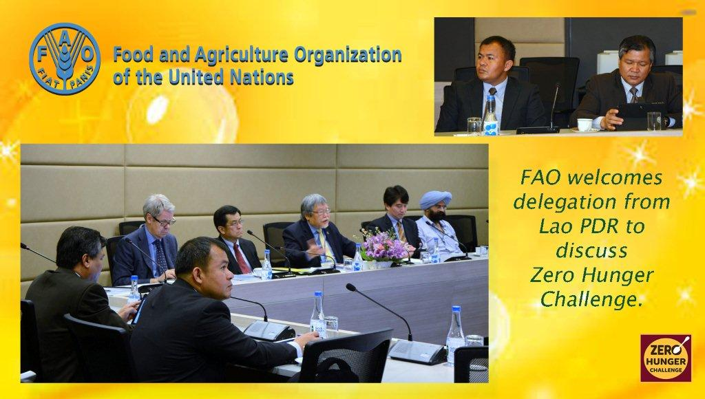 13 March 2015 – FAO Assistant Director-General and Regional Representative for Asia and the Pacific, Hiroyuki Konuma, welcomed a delegation from Lao PDR to discuss the Zero Hunger Challenge and the Government