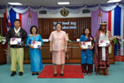 On 18 October 2010, Her Royal Highness Princess Maha Chakri Sirindhorn presented FAO awards to four Asian farmers, from left to right, the Republic of Korea, Thailand, Nepal and Timor-Leste during World Food Day celebrations in Bangkok