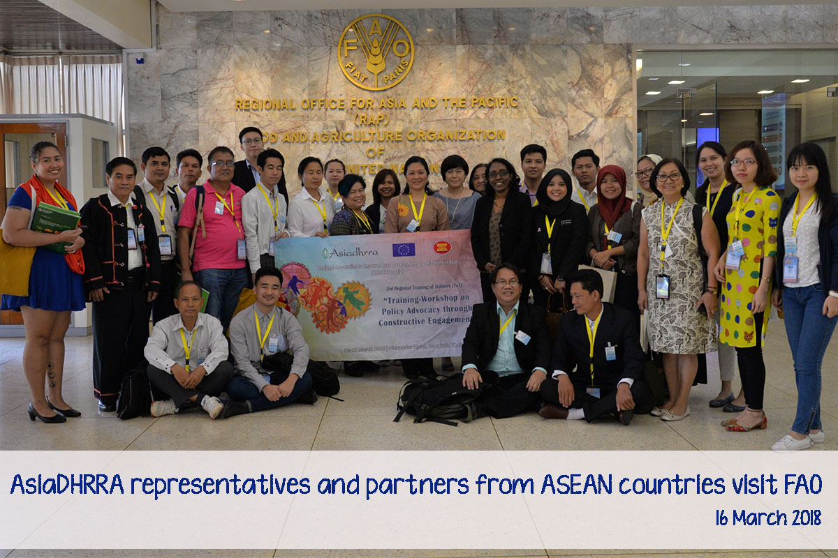 AsiaDHRRA representatives and CSO partners from ASEAN countries visited FAO's Regional Office for Asia and the Pacific to explore a more programmatic relationship in support of its regional programming and policy advocacy for rural institutions.