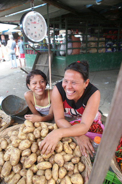 Mother and daughter at the market in Managua, Nicaragua