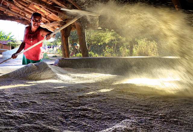 Woman working with flour in Brazil