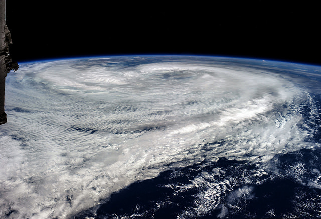 Satellite view of hurricane Maria on 18 September 2017.