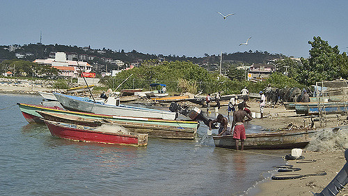 Fishermen dock their boats and go out to fish from this River Bay Fishing Village on Montego Bay, Jamaica