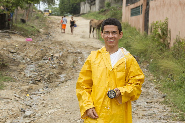 Young man in Choloma, Honduras, a region that is often affected by heavy rain