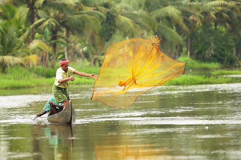 Pescador en Kerala, India