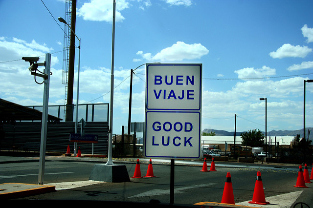 Customs sign at the Mexican-U.S. border.