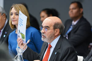 Director General José Graziano da Silva dando su discurso en Bonn, Alemania.