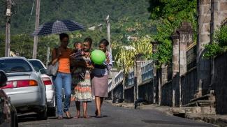 Women and children in Roseau, Dominica.