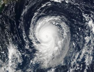 Imagen de satélite de la NASA del huracán.