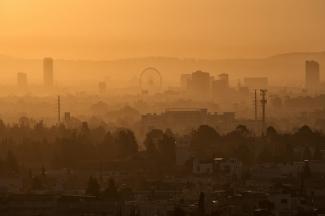Twilight haze over Puebla, Mexico