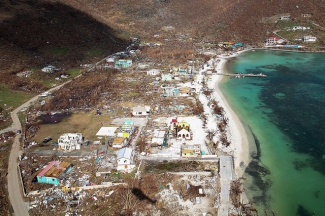 Picture shows the devastation of the island of Jost Van Dyke after hurricane Irma.