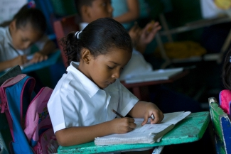 A student doing schoolwork in Nicaragua.