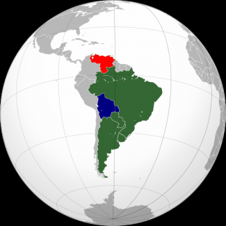 Map of Mercosur countries and candidates