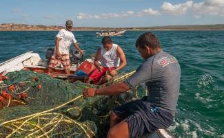 Pesca con tren fondero en El Manglillo, Isla de Margarita, Ecuador