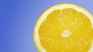 A lemon, cut in half.