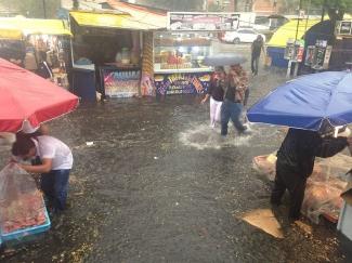 Rain at Copilco Station, Mexico City