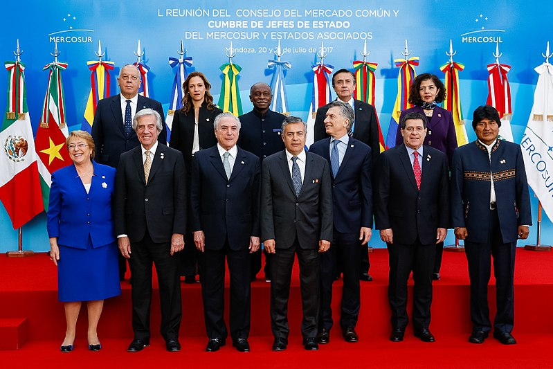 Photo of the leaders of the Mercosur in July of 2017