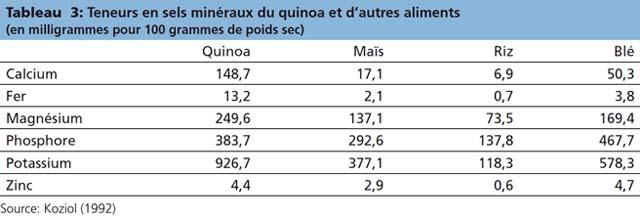 Valeur Nutritionnelle Annee Internationale Du Quinoa 2013