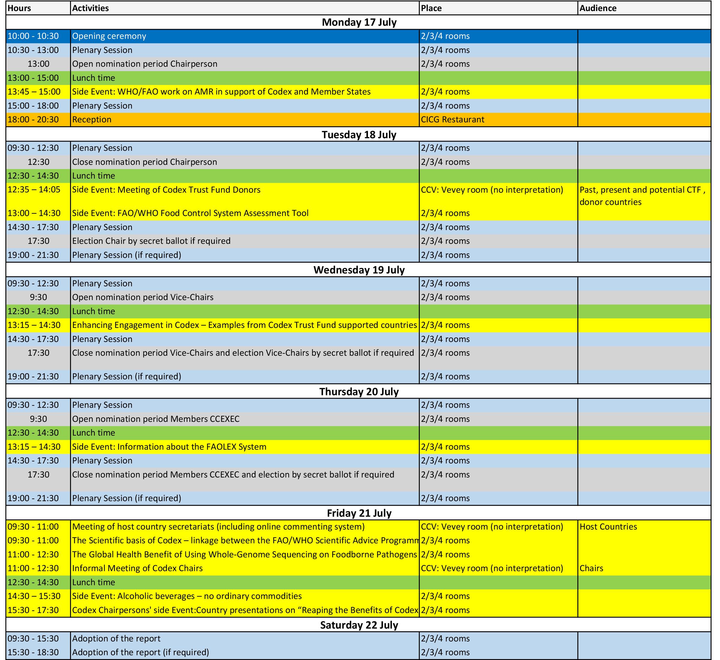 CAC40 Schedule