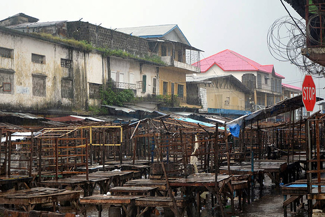 An empty street market in Monrovia's West Point district, 20 August 2014