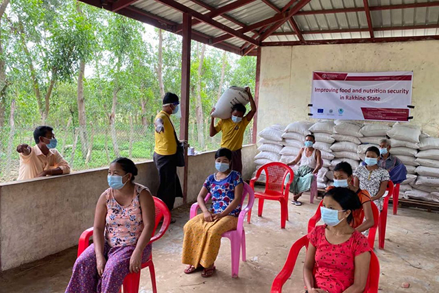 Targeting 6 000 families, FAO started the provision of rice seed in Inn Gyin Myaing and Tha Yet Kin Ma Nu Villages in Buthidaung township.