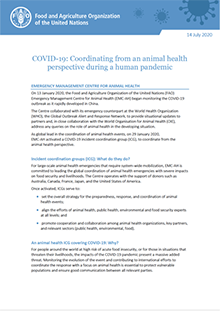 COVID-19 | Coordinating from an animal health perspective during a human pandemic