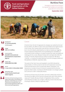 Burkina Faso | Emergency response and support to improve the resilience of vulnerable populations in at-risk areas (September 2020)