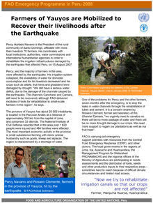 FAO Emergency Programme in Peru 2008: Farmers of Yauyos are mobilized to recover their livelihoods after the earthquake