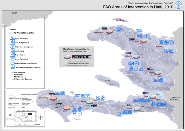 Haiti earthquake 2010 - Map of FAO areas of intervention