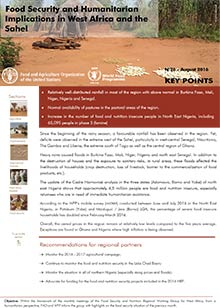 Food security and humanitarian implications in West Africa and the Sahel - FAO/WFP Joint Note, August 2016