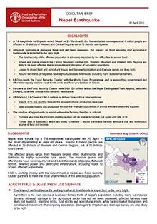 nepal earthquake executive brief 30 april 2015 fao in emergencies