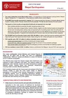 nepal earthquakes executive brief 15 may 2015 fao in emergencies