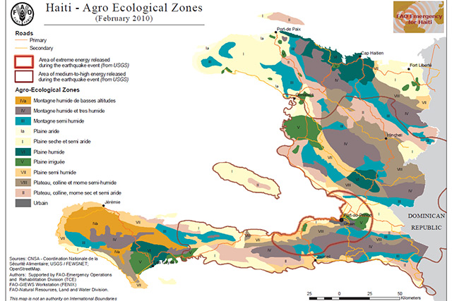 Haiti Natural Resources Map Haiti earthquake 2010   Map of agro ecological zones : FAO in