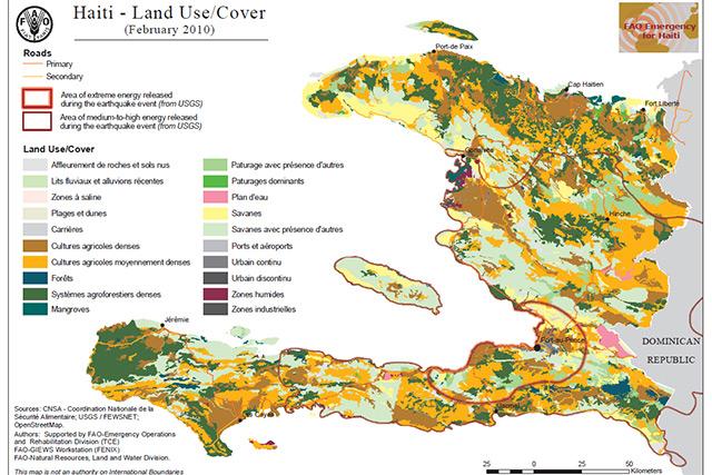 Haiti Natural Resources Map Haiti earthquake 2010   Map of land use/cover : FAO in Emergencies