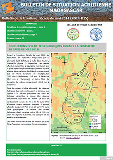 Madagascar - Bulletin de situation acridienne D15 - mai 2014