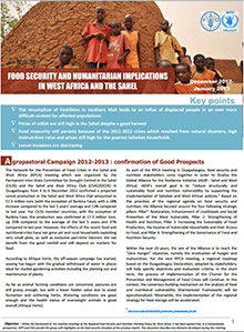 Food Security and humanitarian implications in West Africa and the Sahel - FAO/WFP Joint Note, December 2012-January 2013