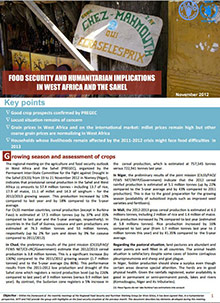 Food Security and humanitarian implications in West Africa and the Sahel - FAO/WFP Joint Note, November 2012