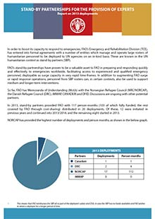 Stand-by partnerships for the provision of experts - Report on 2013 deployments