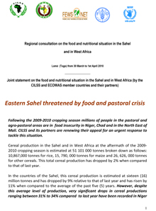 Joint statement on the food and nutritional situation in the Sahel and in West Africa (by the CILSS and ECOWAS member countries and their partners)