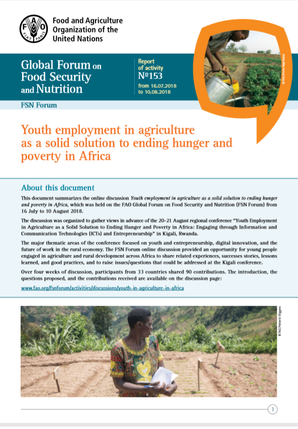 Youth employment in agriculture as a solid solution to