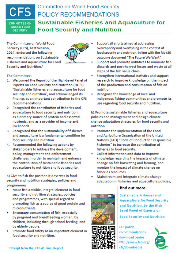 Sustainable Fisheries and Aquaculture for Food Security and